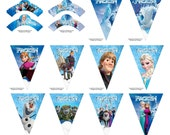 Disney's Frozen 14-pc Cupcake Wrappers & Party Banner - Instant Download - Disney Party Decorations - Frozen Birthday Party Decorations