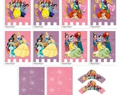 Disney Princess Printable Cupcake Wrapperc & Party Banner-Instant Download-Princess Party Decorationc-Disney Party-Pink Purple Party Banner