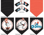 Dr Seuss Cupcake Wrappers & Party Banner 6 pc Set - Instant Download - Cat In the Hat Party Decorations - Dr Seuss Baby Shower Decorations