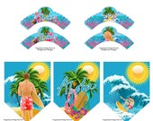 Cool Surfer Dude Cupcake Wrappers & Party Banner 7pc Set - Surf Party Decoration - Beach Party - Surfing Party Bunting and Liner Decorations