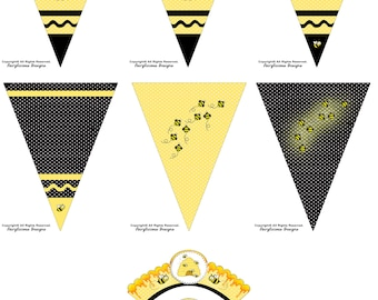 Busy Bee 7pc Cupcake Wrappers & Matching Pennant Party Banner-Baby Shower Party Decorations-Instant Download-Busy Bee Party Decorations