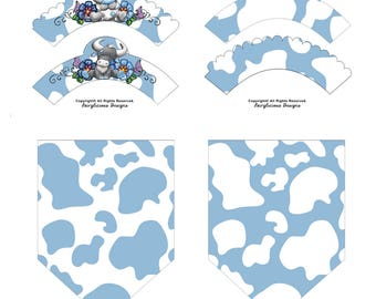 Blue & White Cow Print Cupcake Wrappers with Flag Party Banners-New Baby Shower Party Decorations-Instant Download-Farm Barnyard Cow Party