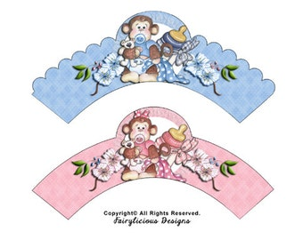 Cute Monkey Boy & Girl Cupcake Wrappers-Instant Download-New Monkey Baby Shower Party Decorations-Pink and Blue-Baby Monkey Party Decoration