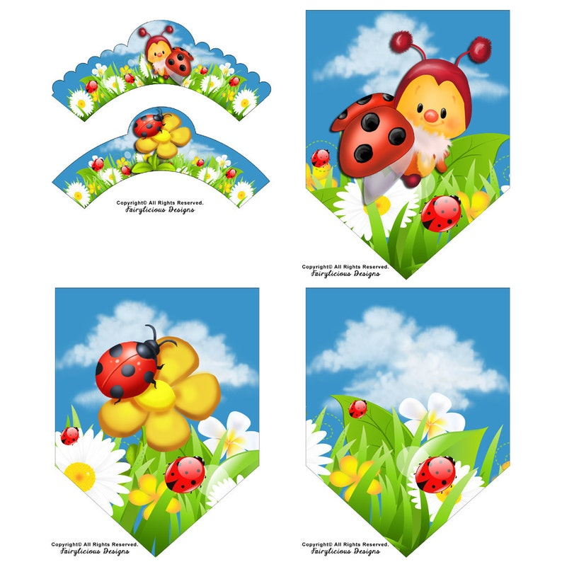 Ladybug Garden Cupcake Wrappers & Flag Party Banner  Instant image 0
