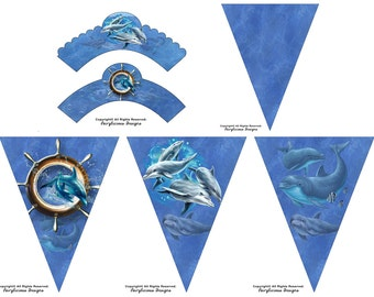 Dolphin Cupcake Wrappers & Pennant Party Banner - Under the Sea Party Decorations - Instant Download - Birthday or Baby Shower Decorations
