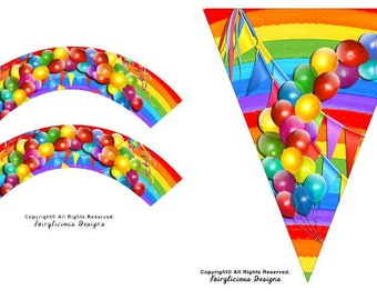 Rainbow Banner Balloons Cupcake Wrappers & Party Pennant 3 pc Set - New Baby Shower Decorations - Instant Download - Party Decorations