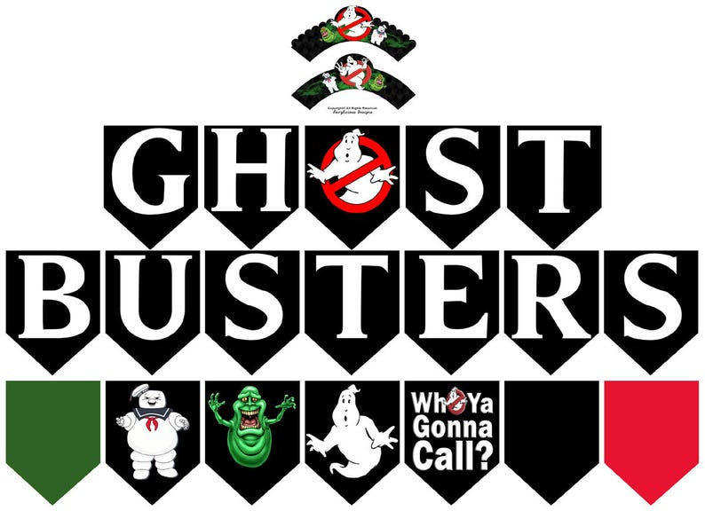 Ghostbusters Printable 20-pc Flag Party Banner & Wrapper Set image 0