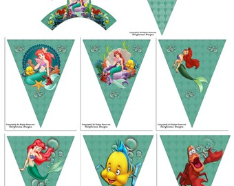 Disneys Little Mermaid Cupcake Wrapper & Pennant Party Banner 8pc-Instant Download-New Baby Shower Cupcake Wrapper-Mermaid Party Decorations