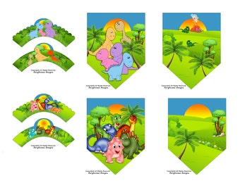 2 sets of Dinosaur Cupcake Wrappers & 4 pc Flag Party Banner Set - Baby Shower Decorations - Instant Download - Dinosaur Party Decorations