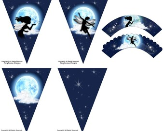 Blue Moon Fairy Cupcake Wrappers & 4pc Pennant Party Banner Set - Baby Shower Party Decorations - Instant Download - Fairy Party Decorations