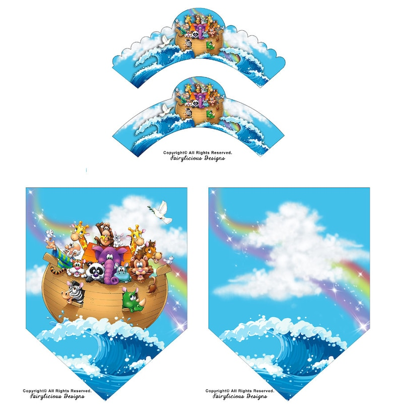 Noah's Ark Cupcake Wrapper & Party Banner Set  Baby image 0