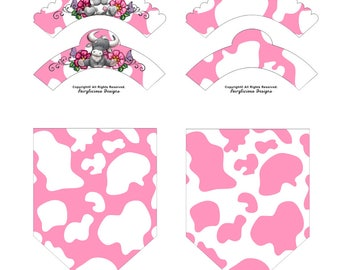 Pink & White Cow Print Cupcake Wrappers with Flag Party Banners-New Baby Shower Party Decorations-Instant Download-Farm Barnyard Cow Party