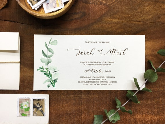 Wedding Invitation With Eucalyptus Leaves And Postage Stamp