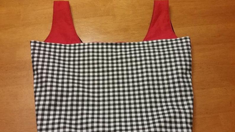 Reversible Tote bag Machine Washable Reusable Shopping Bag Bag Black and White Gingham bag Shopping Bag Gingham Tote bag
