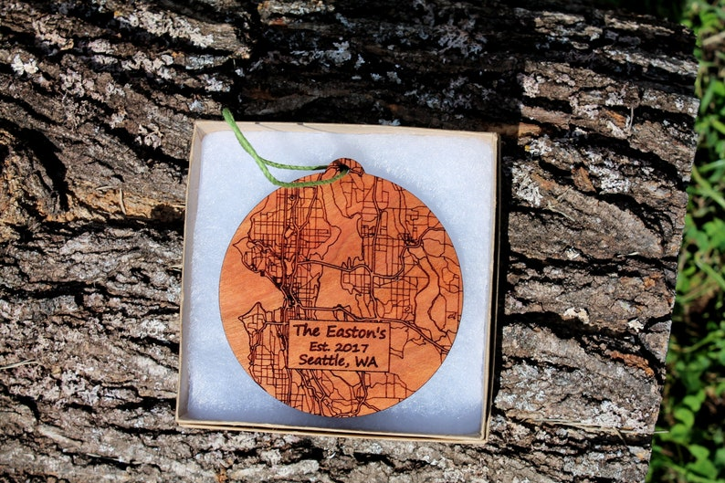 Custom Seattle Newlywed Ornament Graduation Wedding Engagement New Home Personalized Wood Map Ornament Baby First Christmas