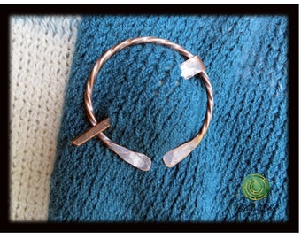 Recycled Copper Shawl Pin Scarf Pin Copper Penannular Pin Twisted Wire