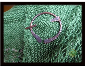 Celtic Scarf Pin Copper Penannular Shawl Pin Hammered with Hash Marks
