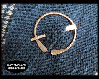 Copper Shawl Pin Scarf Pin Copper Penannular Pin Hammered Lines