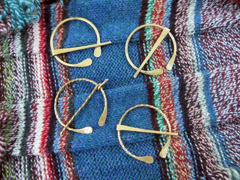 Twisted Wire Brass Shawl PinCeltic BroochPenannular Pin