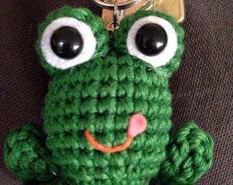 Frog Keychain, Amigurumi Keychain
