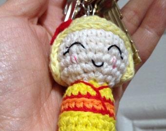 kokeshi Amigurumi Keychain Keyring