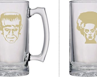 Etched Frankenstein and Bride Beer Mugs