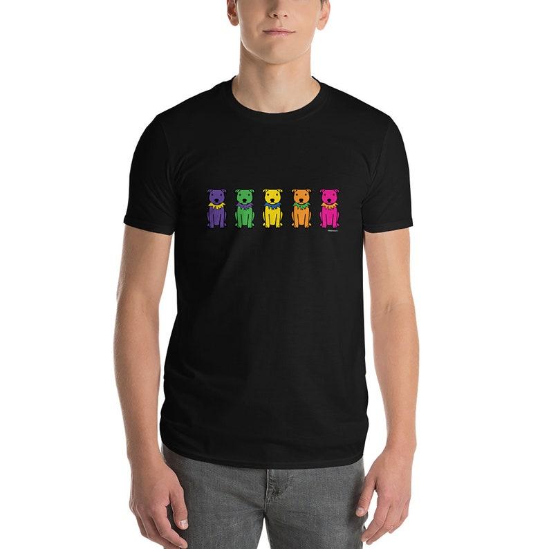 Rainbow Staffies Short-Sleeve Anvil Unisex T-Shirt Black