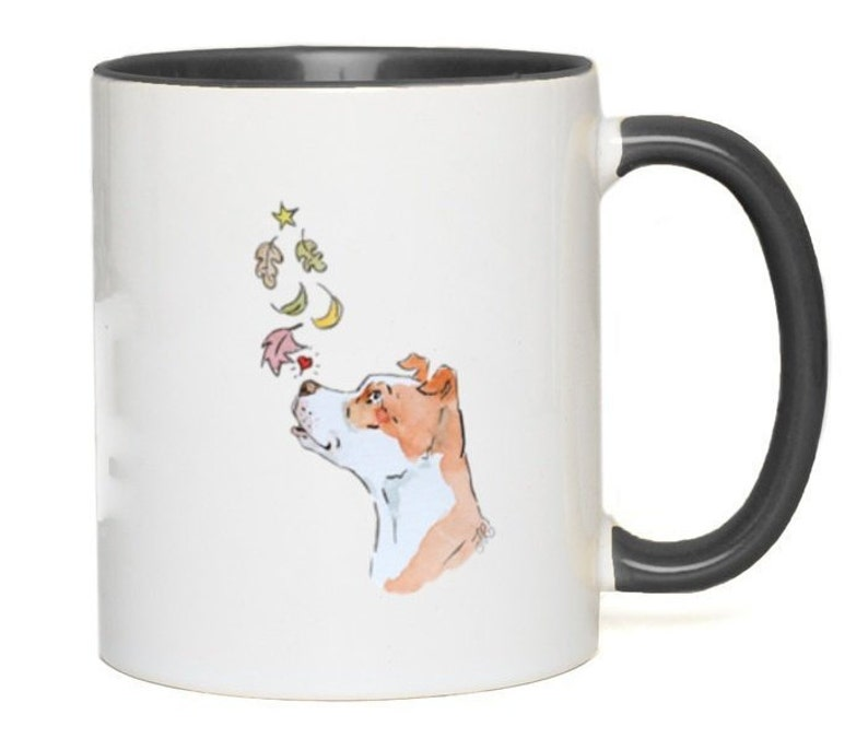Fall For A Bully Color Accent Mugs White with Black Accents