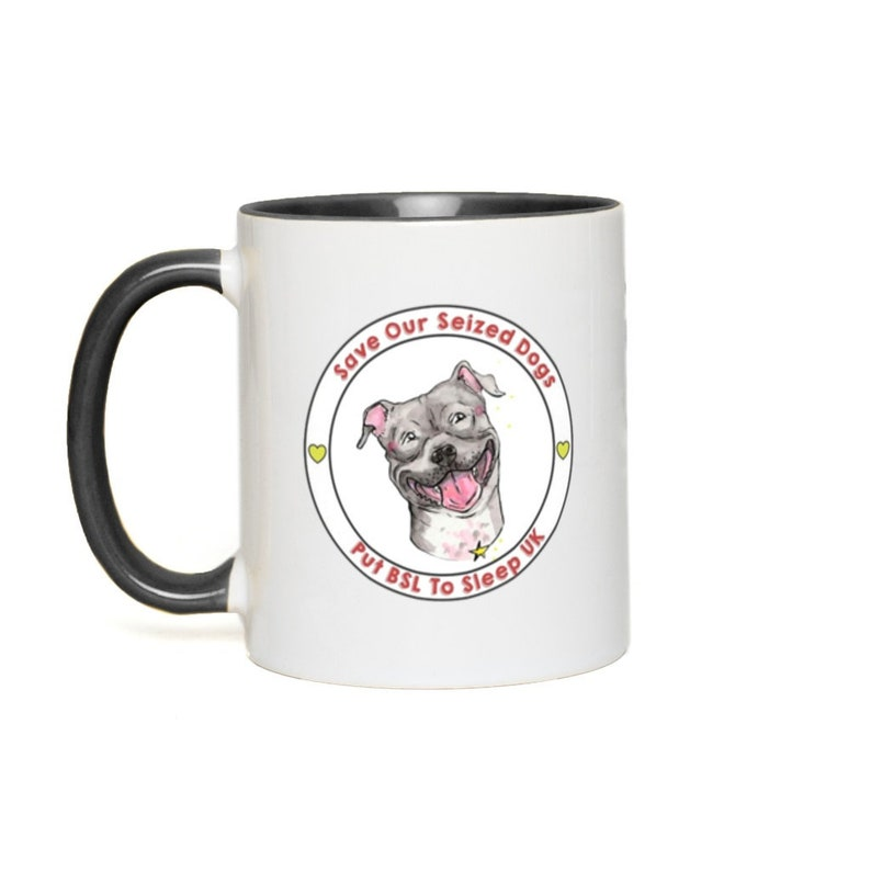 Putting BSL To Sleep Logo Color Accent Mugs White with Black Accents