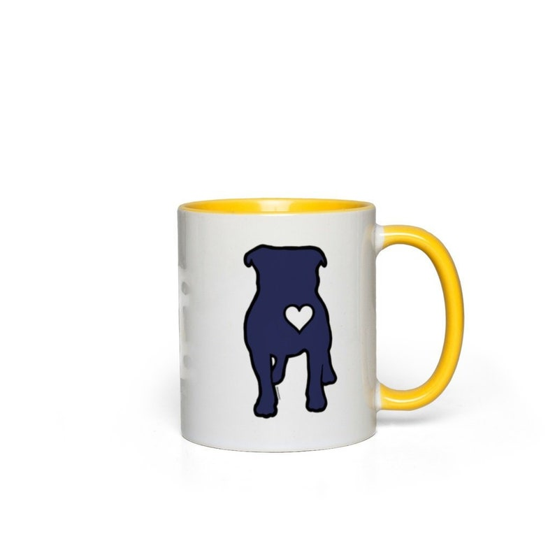 Bully Heart Color Accent Ceramic Mugs White with Yellow Accents