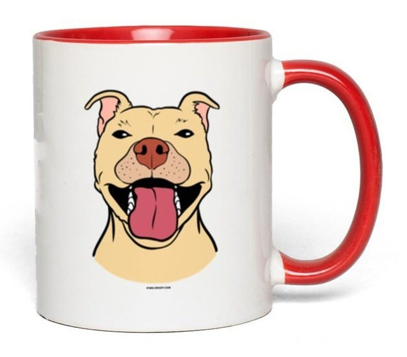 Angus The Pit Bull Color Accent Mugs White with Red Accents