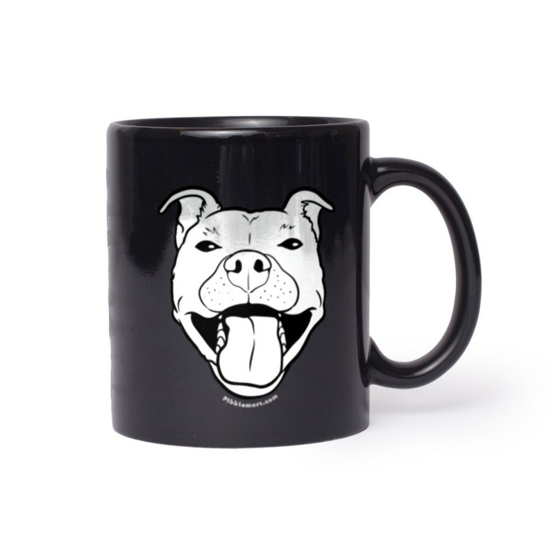 Grinning Pibble Ceramic Black Mugs image 0