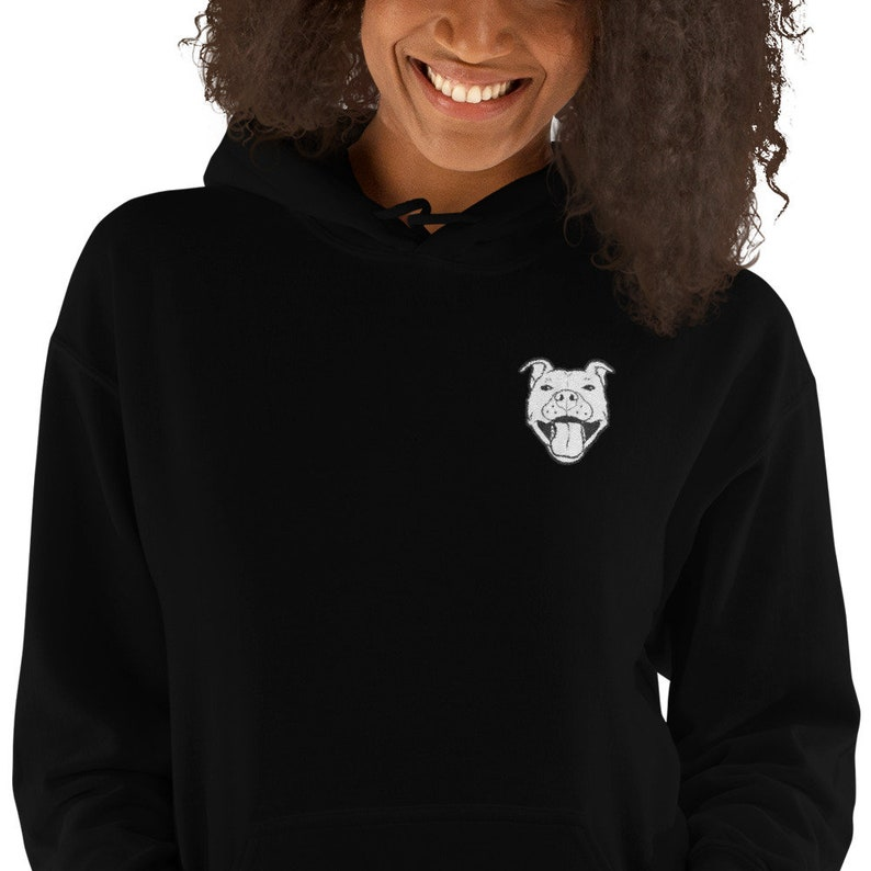 Grinning Pibble Embroidered Heavyweight Hooded Sweatshirt Black