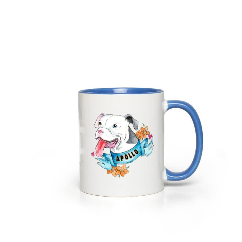 Apollo Portrait Color Accent Mugs White with Blue Accents