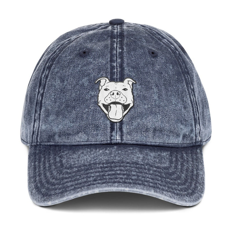 Grinning Pibble Vintage Cotton Twill Cap Navy