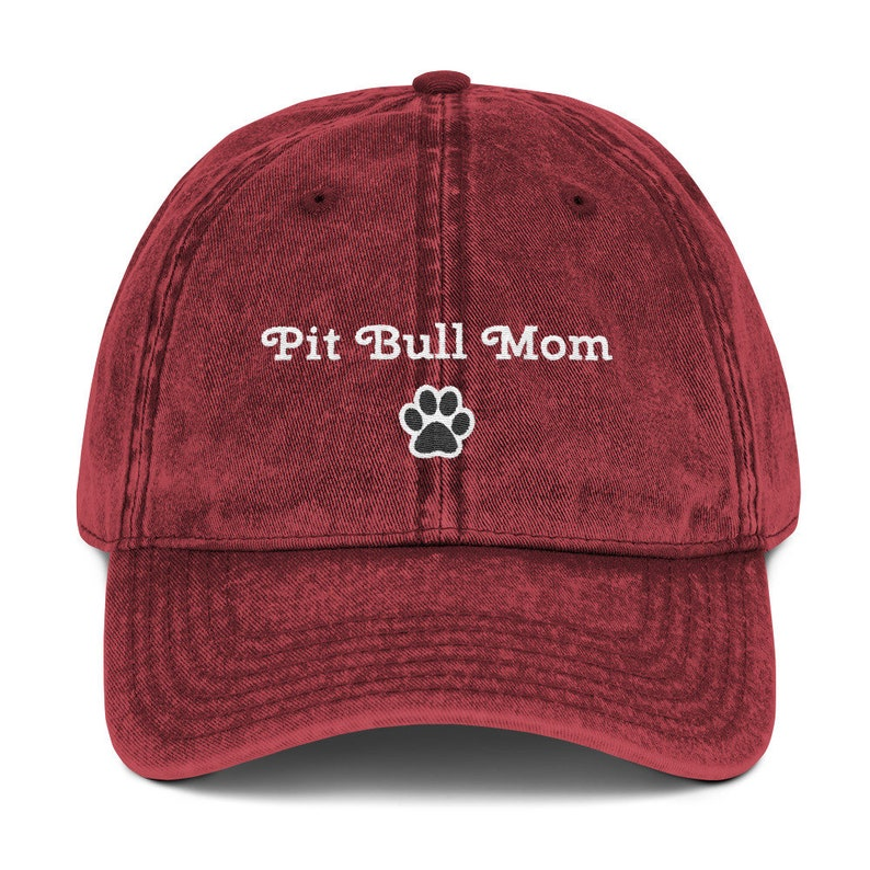 Pit Bull Mom Embroidered Vintage Cotton Twill Cap Maroon