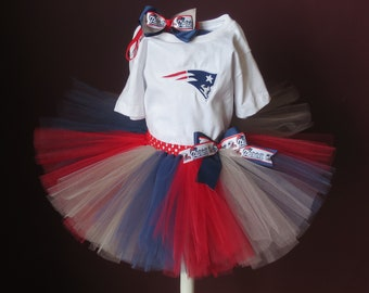 Baby Toddler New England Patriots Inspired Embroidery Tutu Set Patriots  Tutu Bow Patriots Inspired Embroidered Bodysuit T-Shirt 1e1a94889