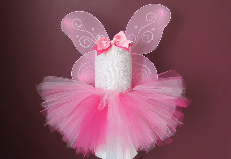 Infant Baby Toddler Fairy Tutu Halloween Costume Pink Tutu Tinker Bell Costume with Fairy Wings and Hair Bow Or you choose item and size! s