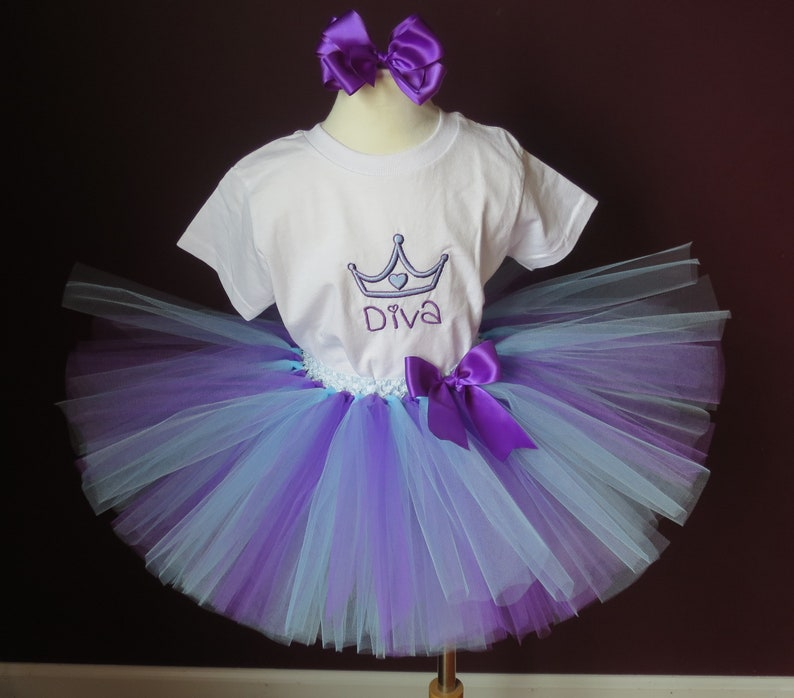 4~ Ready to Go! Toddler Girls Tutu Toddler  Embroidered Diva T-Shirt Purple Tutu Outfit~ Size