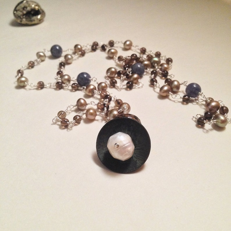 The Empress Necklace | Sterling Silver Smoky Quartz Iolite Freshwater Pearl  Gemstone Necklace | Tarot Jewelry | Occult Witch Avant Garde
