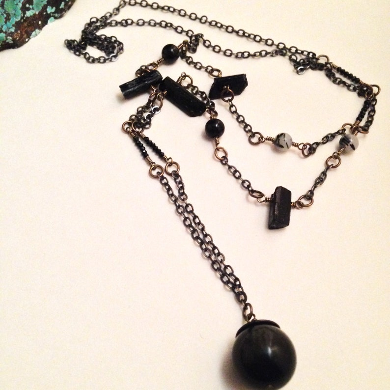 The Magician Golden Obsidian Tourmaline Pyrite Black Spinel Garnet Gemstone Dark Crystal Scrying Ball Necklace Witch Occult Tarot Jewelry