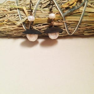 Queen of Swords White Freshwater Faceted Pearl Gold Filled Leverback Earrings Occult Tarot Jewelry Handmade Avant Garde Witch Earrings