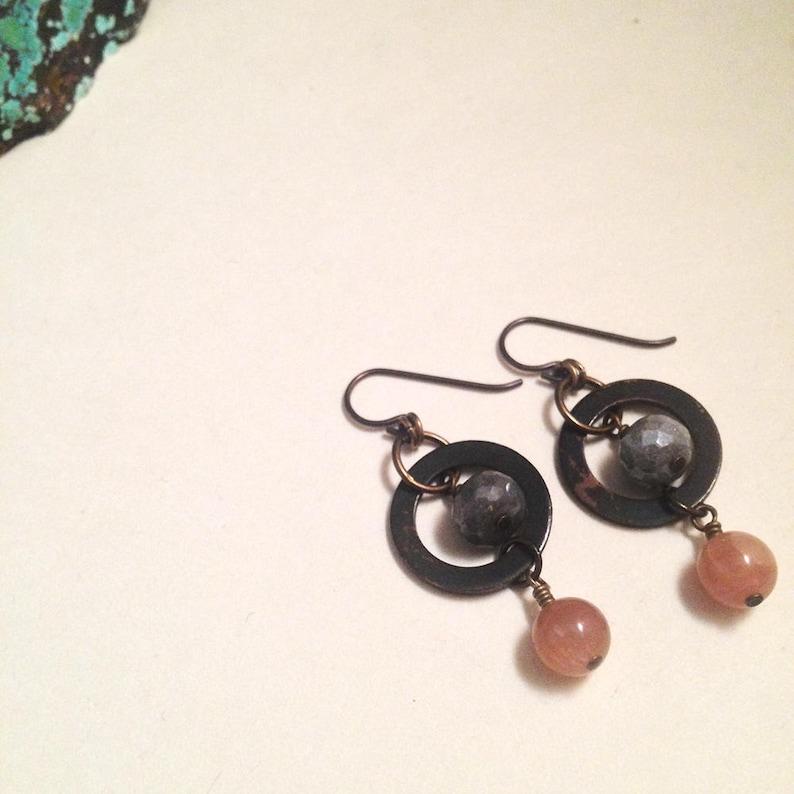 Queen of Wands Grey Moonstone Pink Moonstone Gemstone Copper Niobium  Earrings | Handmade Nickel-Free Earrings | Tarot Witch Jewelry