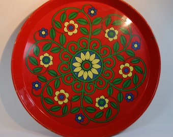 Vintage Red Enamel Metal Serving Tray -Pat Albeck Design -Worcester Ware 1960's, Kitchenalia Tray, Flower Power Tray