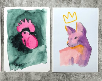 Cute Creatures Illustrated Animals 3 x A6 Postcards on 300GSM Card