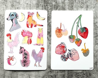 Animals & Fruits Illustrated Animals and Fruits 3 x A6 Postcards with Rounded Corners 300GSM