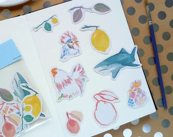 Sketchbook Stickers Set 01 Art Illustrations 9 Stickers per pack for Journal and Planner