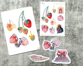 July 2021 Sticker Club Overstock Set of 1 x Postcard, 3 Large stickers plus 1 x Sticker Sheet with 8 Stickers