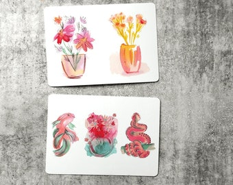Floral Pets Illustrated Animals and Flowers 2 x A6 Postcards with Rounded Corners 300GSM