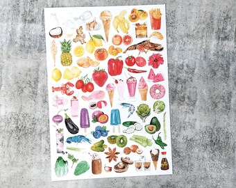 Ombre Art Print A4 size featuring watercolour illustrations of Foods and Drinks in a pleasing ombre colour pattern
